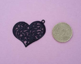 Large black colored metal heart charm