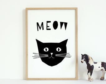 Wall Art Nursery, Cat Print, Meow Cat, Black and White Animal Prints, Printable Nursery Cat, Cute Cat, Instant Download