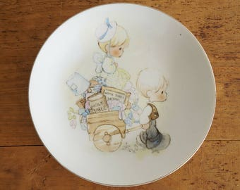 1970s Vintage Enesco Precious Moments 1978 Jonathan and David Collectible Plate