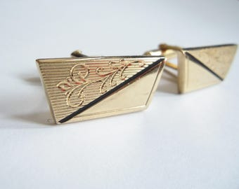 Gold Cuff Links with Etched Design