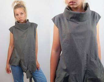 Vintage 90's Minimalist Asymmetric High Neck Vest / Top | Size S-M