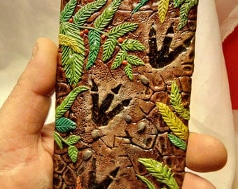 Walking with Dinosaurs, Flexible and hard case, hand sculpted, OOAK (one of a kind)phone case, iphone,Custom Phone Case