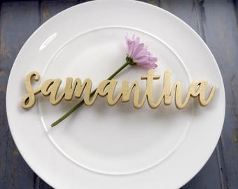 Personalized Laser Cut Wood Place Setting Name | Wedding Place Settings | Wedding Plate Signs