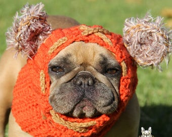 Puppy Dog Star wars Ewok Snood Cosplay dog hat handmade crochet French Bulldog Clothe made to order neck warmer