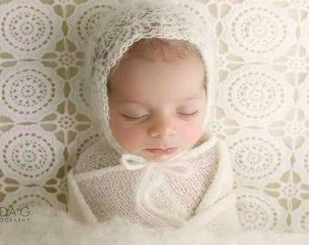 Crochet mohair bonnet/ mohair bonnet/ white mohair bonnet/ newbirn prop/ newborn white bonnet