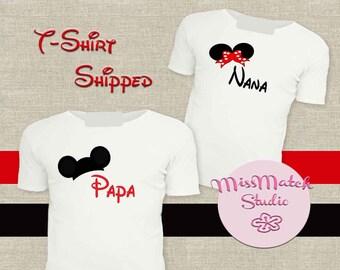 SALE Nana Papa Family Disney T-Shirt Shipped!! Minnie Mickey Mouse Birthday Boy Shirt DIY Iron On Digital Art Matching Red Black White