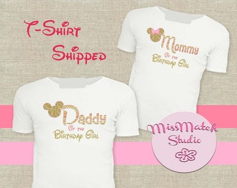 Pink SALE Mommy Daddy T-Shirt Shipped!! Minnie Mickey Mouse Mom Birthday Girl Shirt DIY Iron On Digital Art Matching Pink Gold
