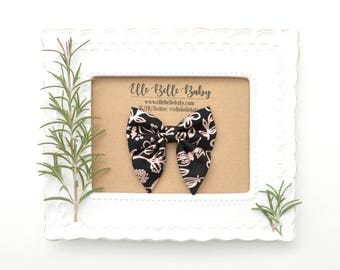 Black & Rose Gold Floral Sailor bow clip-Elle Baby Headband -Newborn - Hairbow with tails - Toddler hairclip -Nylon Headband-Elle Belle Baby