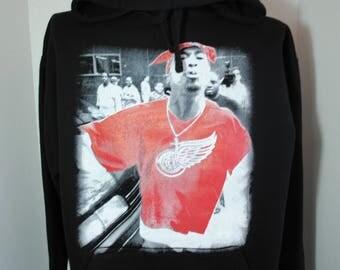 Tupac Shakur Red Wings Mens Hoodie Black 2pac