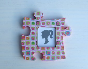 Picture frame wood puzzle Plaid flower