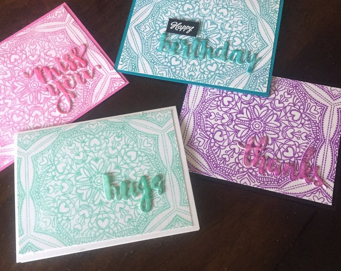 Handmade Card, Stamped Birthday Card, Handmade Thank You Card, Colorful Greeting Card,  Mandala Card, Embellished Card, Customizable Card