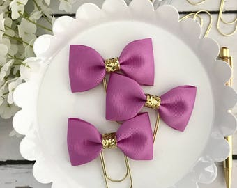 Violet Ribbon Bow Paperclip Plannerclip Bookmark