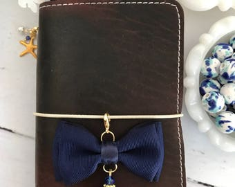 Navy Double Bow Planner Travelers Notebook Charm