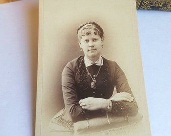 CDV Photo Young Victorian Woman Wearing Great Jewelry