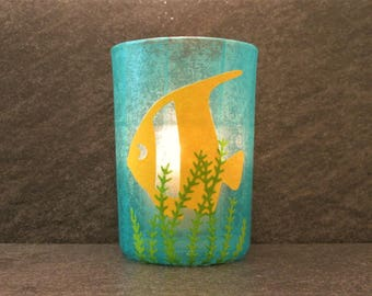 Fish Large Votive Candle Holder with Candle, Under Ocean Candle