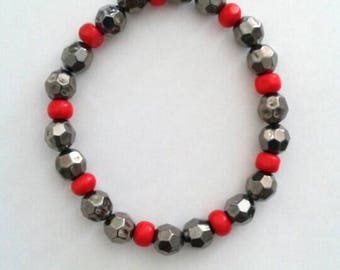 Red and Metallic Silver Bracelet