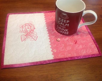 Breast Cancer Ribbon, Mug Rug