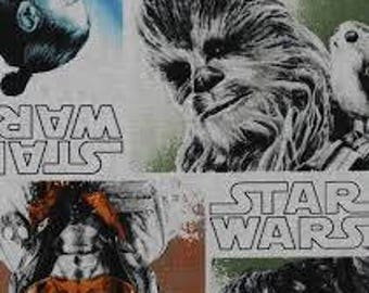 "Star Wars Last Jedi characters fabric, by the half yard, 44"" wide, 100% cotton, star wars fabric, movie fabric, character fabric, r2d2"