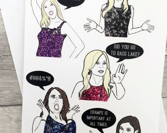 OC Ladies Card - Real Housewives of Orange County inspired Note/Greetings Card/Invitation