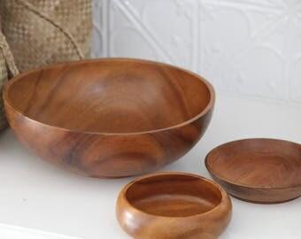 3 x Vintage Wooden Bowls