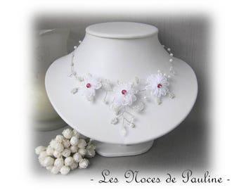 Snow white wedding necklace fuchsia Daisy collection 'Twist'