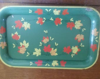 Vintage Metal Snack Tray Dresser Tray 1950's Small Luncheon Tray Green with Red and White Leaves