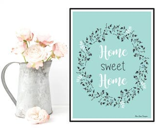 Poster quote, Inspirational quote, Scandinavian poster, Wall art decor, Typography quote, Home sweet home, Illustration print, Art print