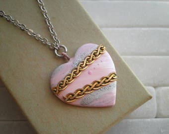 Pink Heart Necklace - Cosmic Love Mixed Metal Outer Space Hand Painted Art Pendant - Tiny Universe Bohemian Sky Modern Heart Jewelry Gift