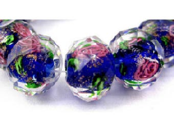 set of 2 beautiful /roses 12 mm x 9 mm dark blue Lampwork beads