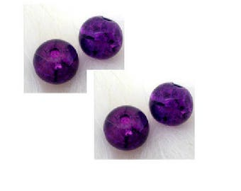 Set of 20 cracked glass beads purple 6 mm