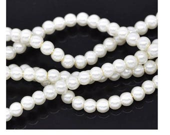 set of 100 4 mm White Pearl acrylic beads
