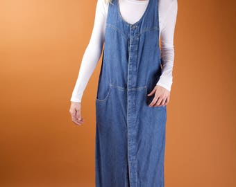 Over sized denim dress / button up dress / scoop neck maxi dress with pockets