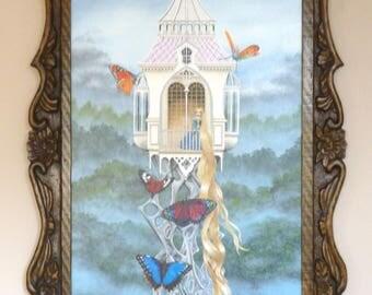 Rapunzel original painting in hand carved oak frame