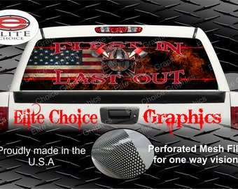 Wicked Wire First In Firefighter Flag Rear Window Graphic Tint Decal Sticker Truck SUV Van Car
