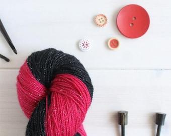 Marceline the Vampire Queen - Adventure Time themed hand dyed yarn - 100g sparkle sock yarn - superwash merino wool