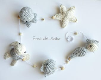to order - under the sea, adorable Garland to hang with whale, Octopus, seahorse and turtle! Crochet - mobile