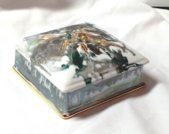 Box porcelain, square jewelry box
