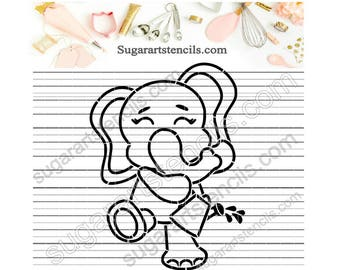 Summer Spring little elephant PYO cookie Stencil Paint your own ST00399