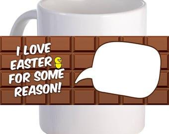 "Personalized ""I Love Easter"" Coffee Mug With Custom Printed Image"