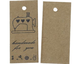 """25 kraft tags """"HandMade for you"""" gifts of 5.7 cm"""