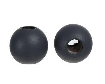 "10 ""Dark gray"" of 25mm wooden beads"
