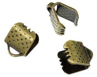 6mm / 50 end caps claws for ribbons in antique bronze