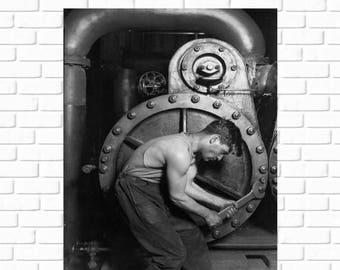 ON SALE Power house mechanic working on steam pump, 1920 - Lewis Hine - Art - Photo - Print - Vintage - History - Steampunk - Photograph - A