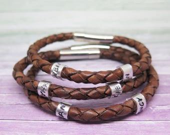 Mens Leather Bracelet - Custom Mens Bracelet - Gift for Dad Ideas - Bracelets for Him - Kids Name Bracelet for Men -  Unique Gift bday