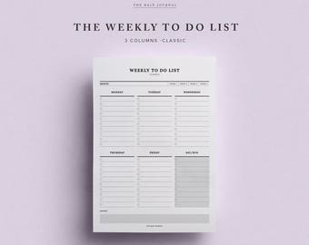 Weekly To Do List -  Printable | Instant Download | A4, A5 & Letter | Planner