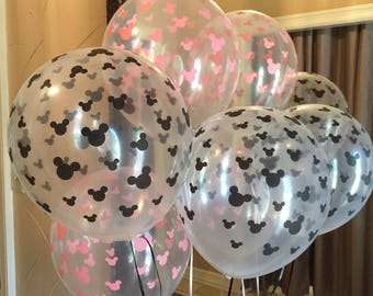 Mickey Mouse Balloons Minnie Mouse Latex Balloon Clear Black Pink Mickey Birthday Party Minnie Birthday Party - 6 Balloons