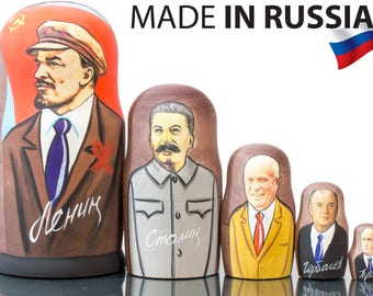 """Nesting Doll - """"Communist leaders of Russia""""  - MEDIUM SIZE -Glossy - 5 dolls in 1"""