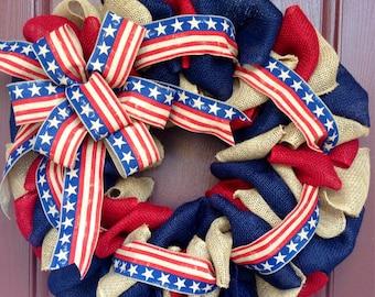 Patriotic Wreath, Americana Wreath, Red White Blue Wreath, July 4th Wreath, Patriotic Burlap, Stars and Stripes, Americana Burlap