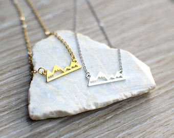 Mountain Necklace, Gold or Silver