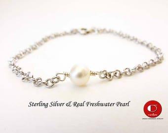 Single Pearl Bracelet, 925 Sterling Silver, Bridesmaid Gifts, Bridal Jewelry, Real Freshwater Pearl, Dainty pearl bracelet.